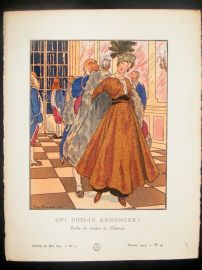 Gazette du Bon Ton by Brissaud 1914 Art Deco Pochoir. Qui Dois-Je Annoncer?